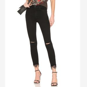 Mother Swooner Dagger Ankle Fray High Wasted Jeans